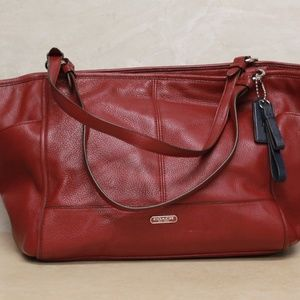 Coach Carrie Park Leather Red Carryall F23284
